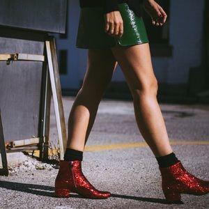 a0d39aac3ad Yves Saint Laurent Shoes - YVES SAINT LAURENT RED GLITTER BOOTS